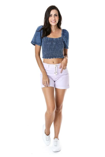 Cropped Jeans Ombro a Ombro Azul 36