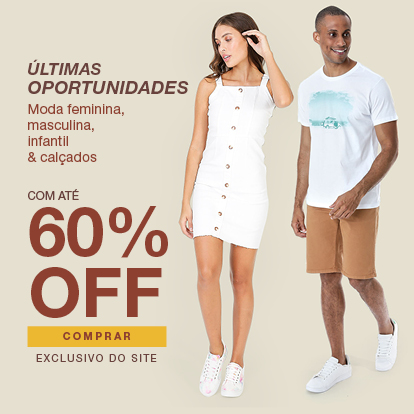 Últimas oportunidades com 60% OFF